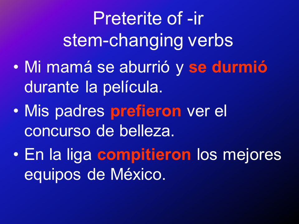 Preterite of -ir stem-changing verbs In the preterite, -ir verbs like preferir, pedir, and dormir also have stem changes but only in the Ud./él/ella a