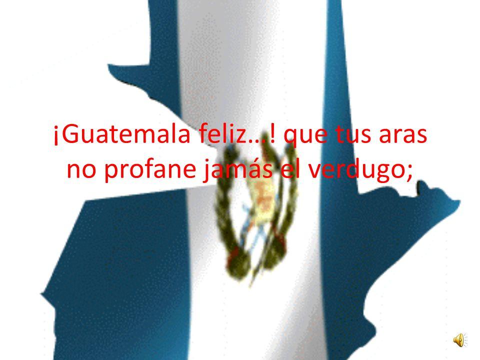 ¡Guatemala feliz…! que tus aras no profane jamás el verdugo;