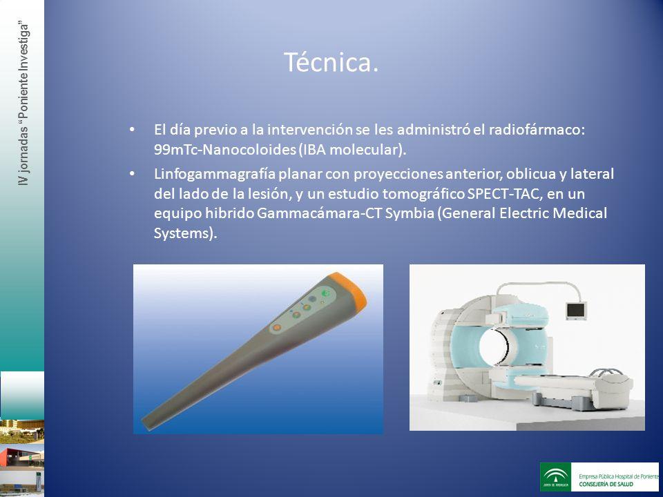Técnica. El día previo a la intervención se les administró el radiofármaco: 99mTc-Nanocoloides (IBA molecular). Linfogammagrafía planar con proyeccion