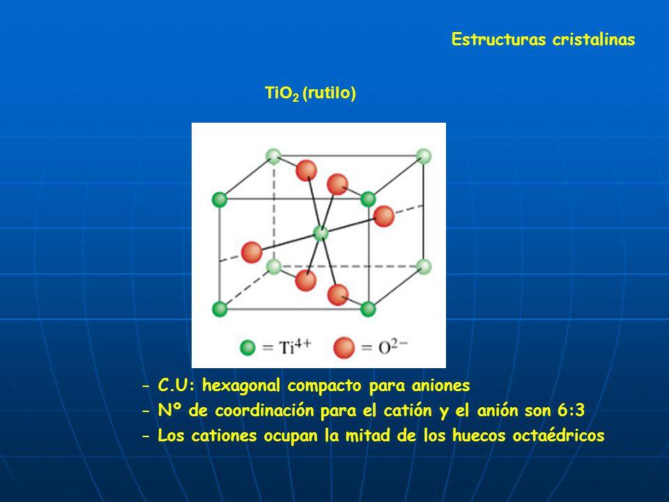 TiO 2 (rutilo) Estructuras cristalinas - C.U: hexagonal compacto para aniones - Nº de coordinación para el catión y el anión son 6:3 - Los cationes oc