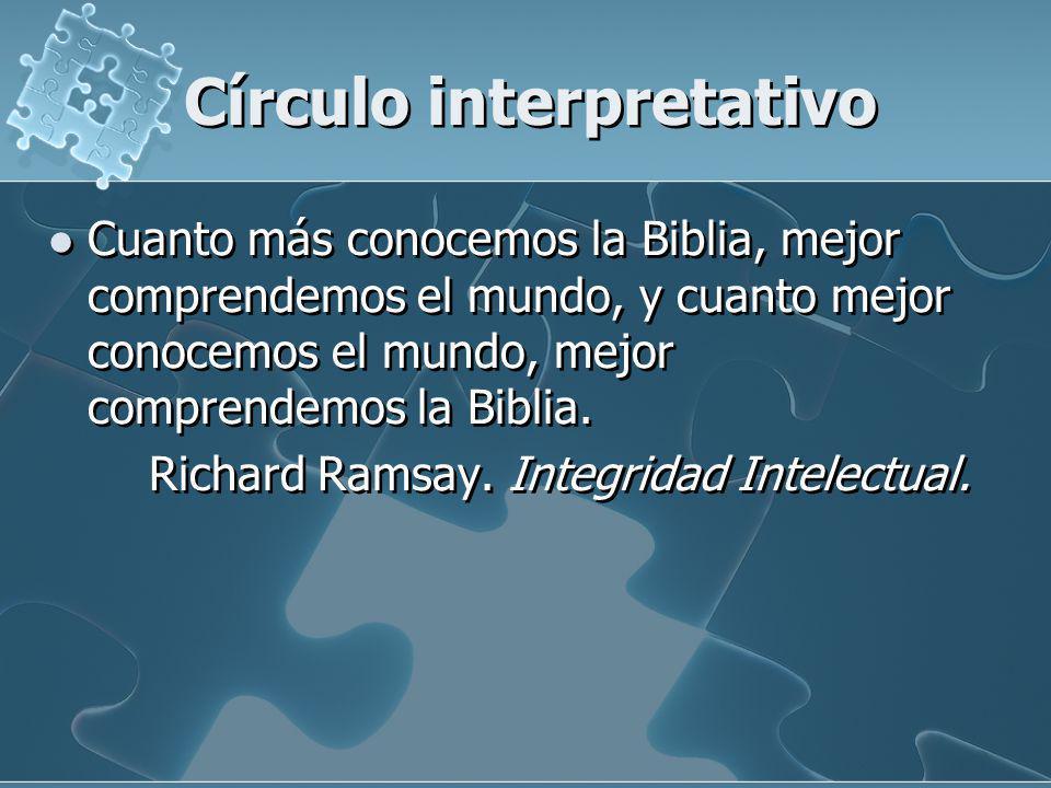 Círculo interpretativo Cuanto más conocemos la Biblia, mejor comprendemos el mundo, y cuanto mejor conocemos el mundo, mejor comprendemos la Biblia. R