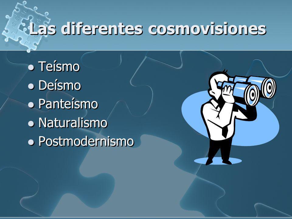 Las diferentes cosmovisiones Teísmo Deísmo Panteísmo Naturalismo Postmodernismo Teísmo Deísmo Panteísmo Naturalismo Postmodernismo