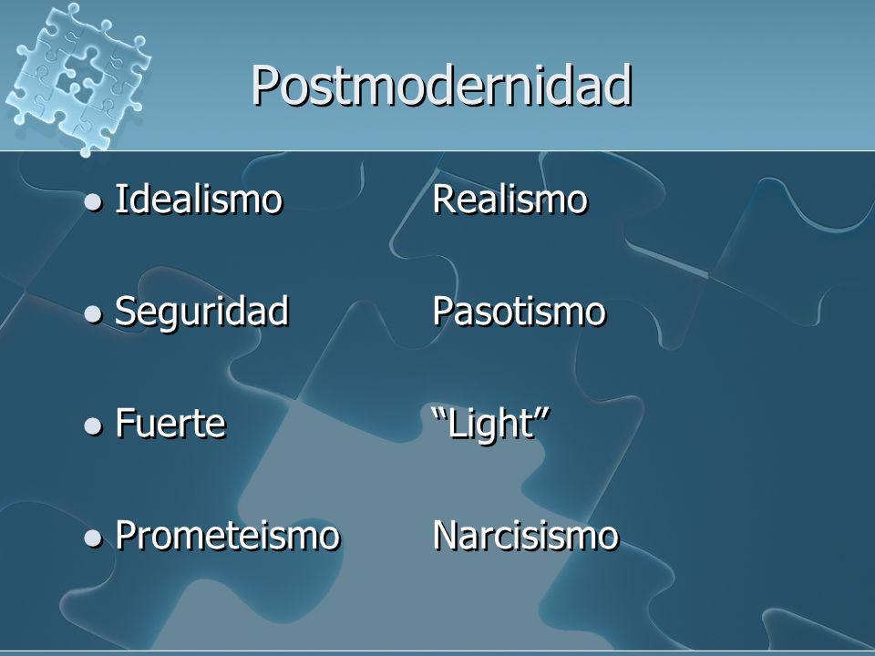Postmodernidad IdealismoRealismo SeguridadPasotismo FuerteLight PrometeismoNarcisismo IdealismoRealismo SeguridadPasotismo FuerteLight PrometeismoNarc