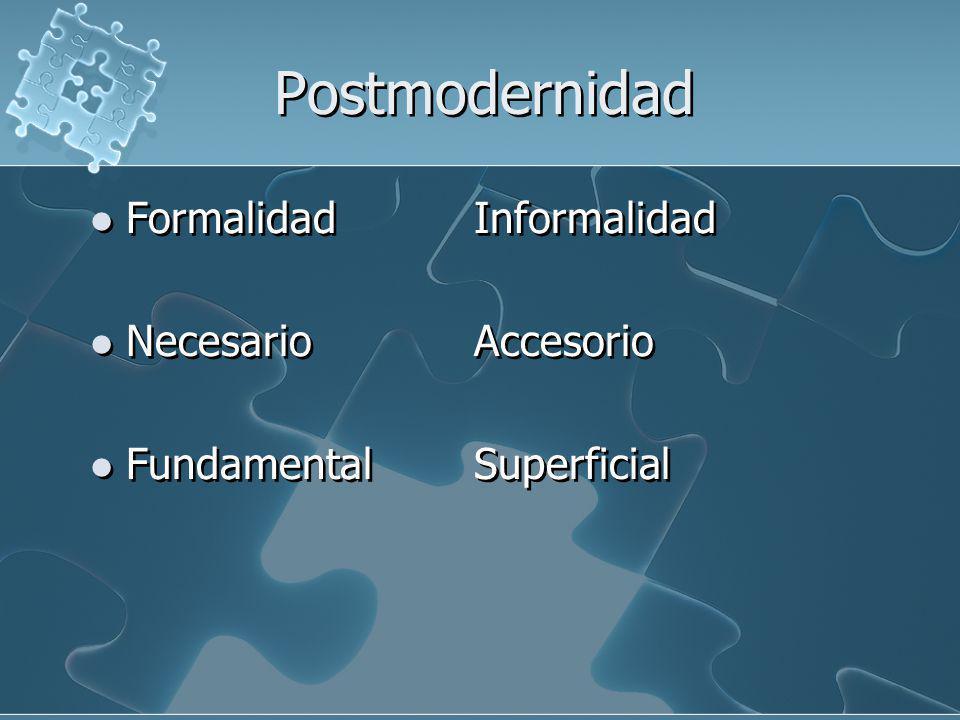 Postmodernidad FormalidadInformalidad NecesarioAccesorio FundamentalSuperficial FormalidadInformalidad NecesarioAccesorio FundamentalSuperficial