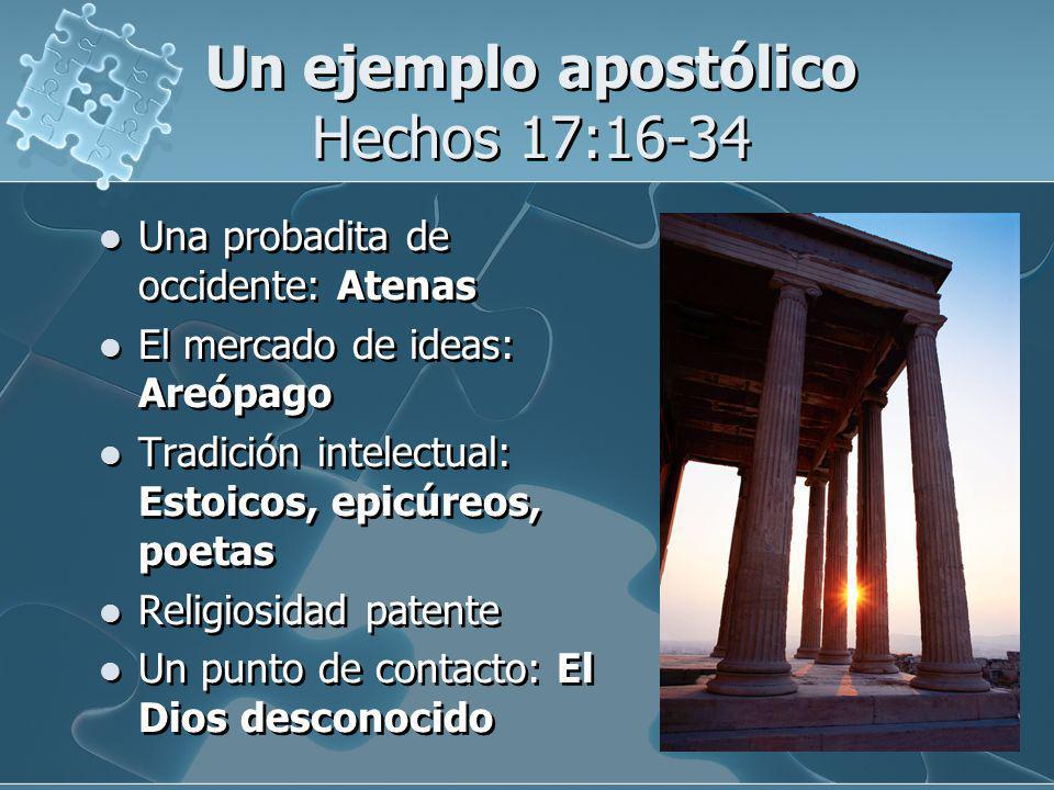 Un ejemplo apostólico Hechos 17:16-34 Una probadita de occidente: Atenas El mercado de ideas: Areópago Tradición intelectual: Estoicos, epicúreos, poe
