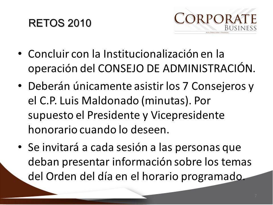 Concluir con la Institucionalización en la operación del CONSEJO DE ADMINISTRACIÓN. Deberán únicamente asistir los 7 Consejeros y el C.P. Luis Maldona