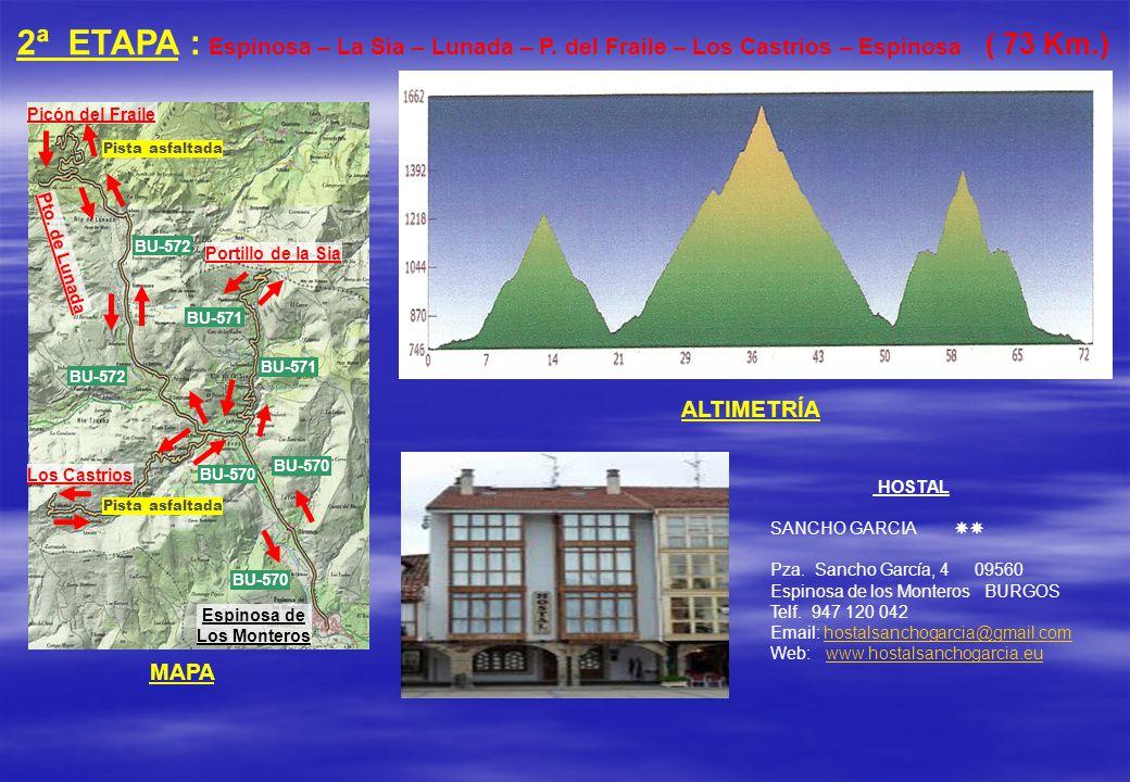 2ª ETAPA : Espinosa – La Sia – Lunada – P. del Fraile – Los Castrios – Espinosa ( 73 Km.) ALTIMETRÍA MAPA Espinosa de Los Monteros Picón del Fraile Pt