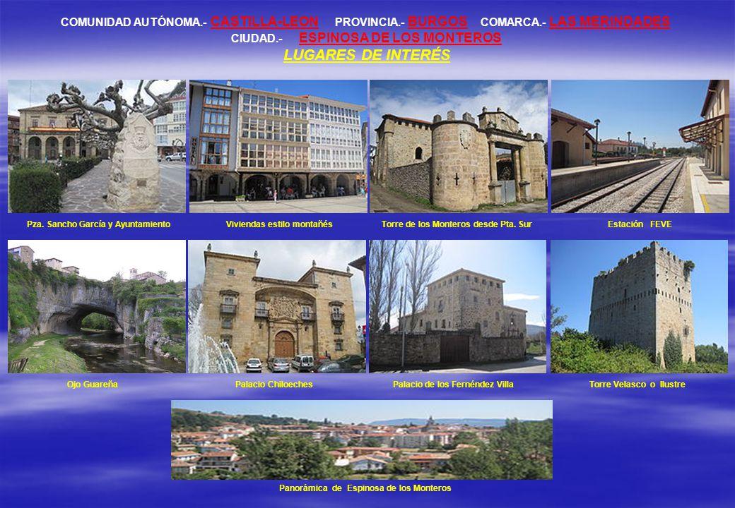 COMUNIDAD AUTÓNOMA.- CASTILLA-LEON PROVINCIA.- BURGOS COMARCA.- LAS MERINDADES CIUDAD.- ESPINOSA DE LOS MONTEROS LUGARES DE INTERÉS Pza.