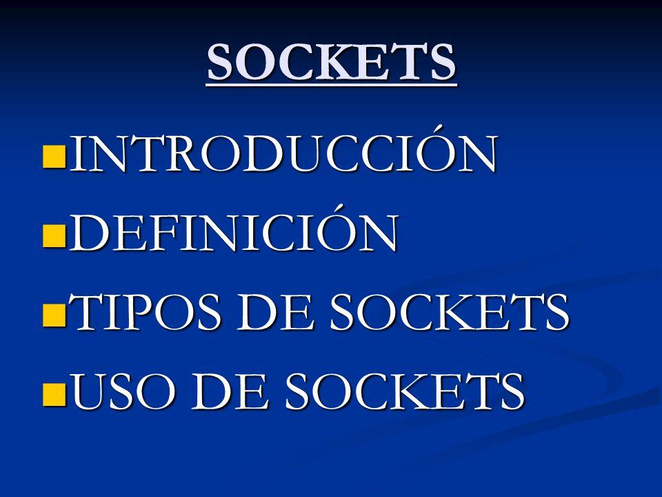 SOCKETS INTRODUCCIÓN INTRODUCCIÓN DEFINICIÓN DEFINICIÓN TIPOS DE SOCKETS TIPOS DE SOCKETS USO DE SOCKETS USO DE SOCKETS
