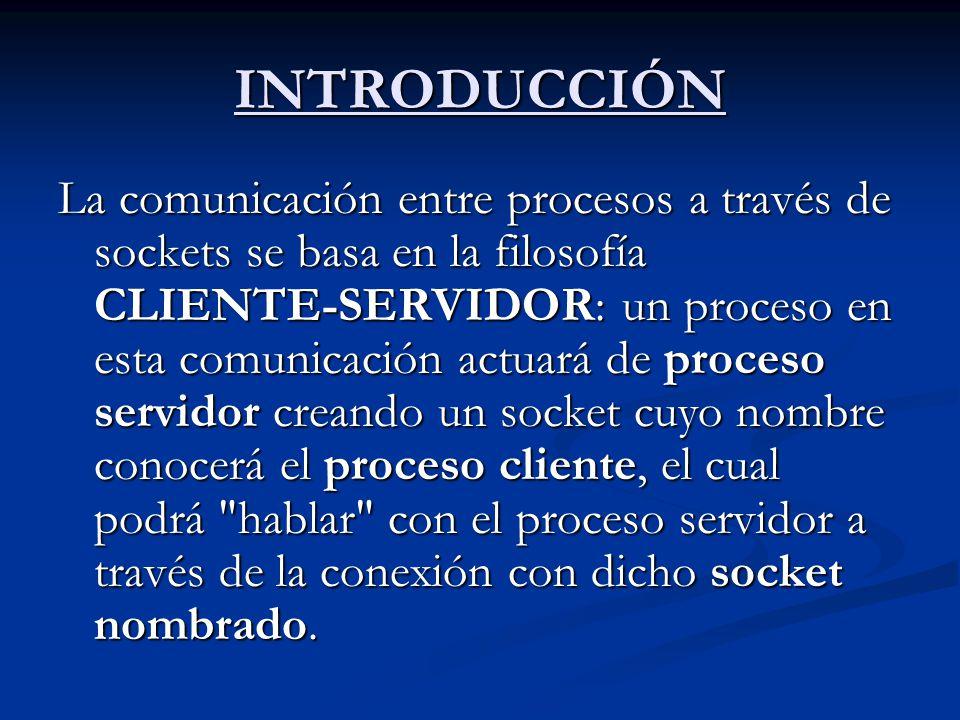 INTRODUCCIÓN La comunicación entre procesos a través de sockets se basa en la filosofía CLIENTE-SERVIDOR: un proceso en esta comunicación actuará de p