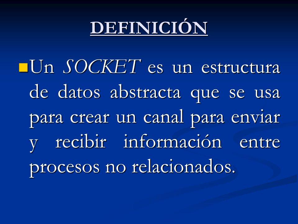 DEFINICIÓN Un SOCKET es un estructura de datos abstracta que se usa para crear un canal para enviar y recibir información entre procesos no relacionad