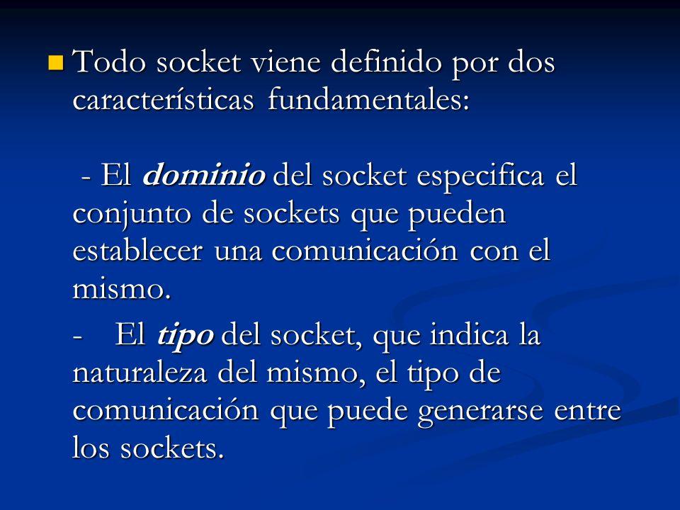 Todo socket viene definido por dos características fundamentales: - El dominio del socket especifica el conjunto de sockets que pueden establecer una