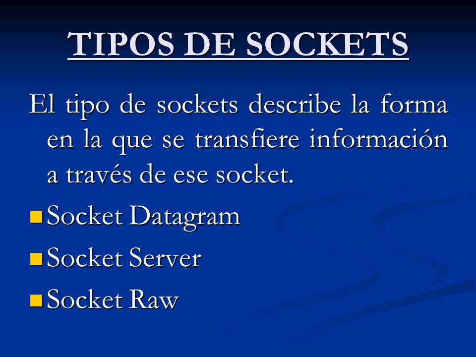 TIPOS DE SOCKETS El tipo de sockets describe la forma en la que se transfiere información a través de ese socket. Socket Datagram Socket Datagram Sock