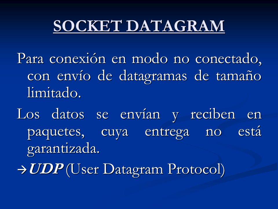 SOCKET DATAGRAM Para conexión en modo no conectado, con envío de datagramas de tamaño limitado. Los datos se envían y reciben en paquetes, cuya entreg