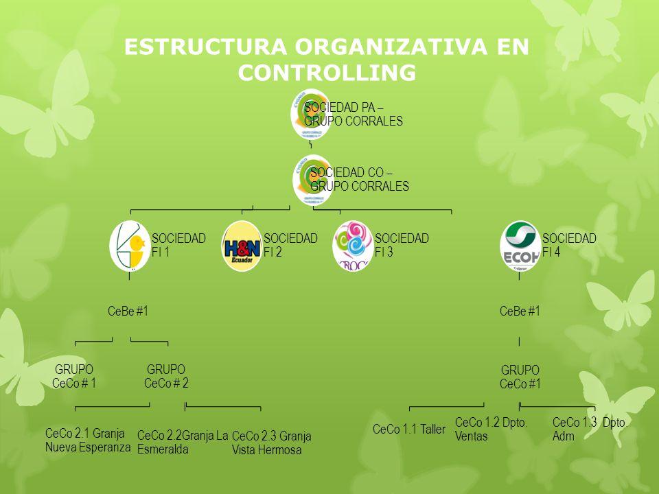 ESTRUCTURA ORGANIZATIVA EN CONTROLLING SOCIEDAD PA – GRUPO CORRALES SOCIEDAD CO – GRUPO CORRALES SOCIEDAD FI 1 CeBe #1 GRUPO CeCo # 1 GRUPO CeCo # 2 CeCo 2.1 Granja Nueva Esperanza CeCo 2.2Granja La Esmeralda CeCo 2.3 Granja Vista Hermosa SOCIEDAD FI 2 SOCIEDAD FI 3 SOCIEDAD FI 4 CeBe #1 GRUPO CeCo #1 CeCo 1.1 Taller CeCo 1.2 Dpto.