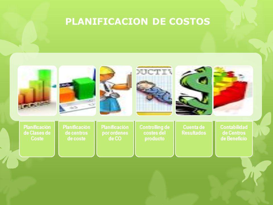 PLANIFICACION DE COSTOS Planificación de Clases de Coste Planificación de centros de coste Planificación por ordenes de CO Controlling de costes del producto Cuenta de Resultados Contabilidad de Centros de Beneficio