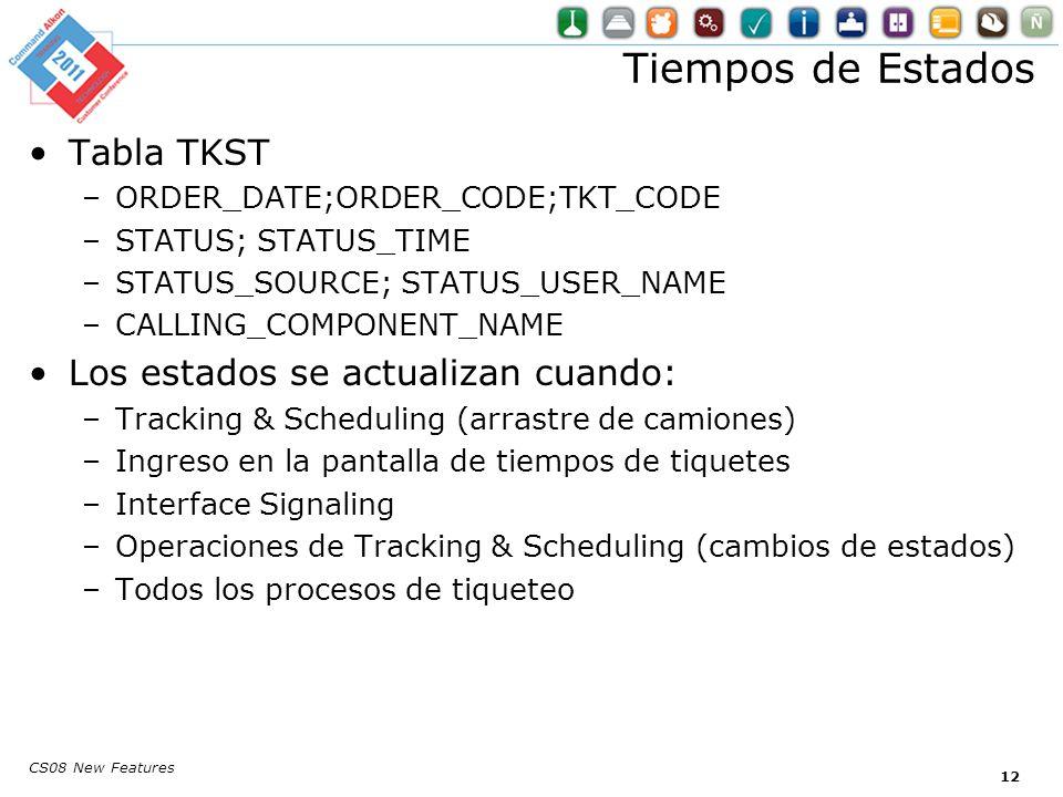 Tiempos de Estados Tabla TKST –ORDER_DATE;ORDER_CODE;TKT_CODE –STATUS; STATUS_TIME –STATUS_SOURCE; STATUS_USER_NAME –CALLING_COMPONENT_NAME Los estados se actualizan cuando: –Tracking & Scheduling (arrastre de camiones) –Ingreso en la pantalla de tiempos de tiquetes –Interface Signaling –Operaciones de Tracking & Scheduling (cambios de estados) –Todos los procesos de tiqueteo CS08 New Features 12