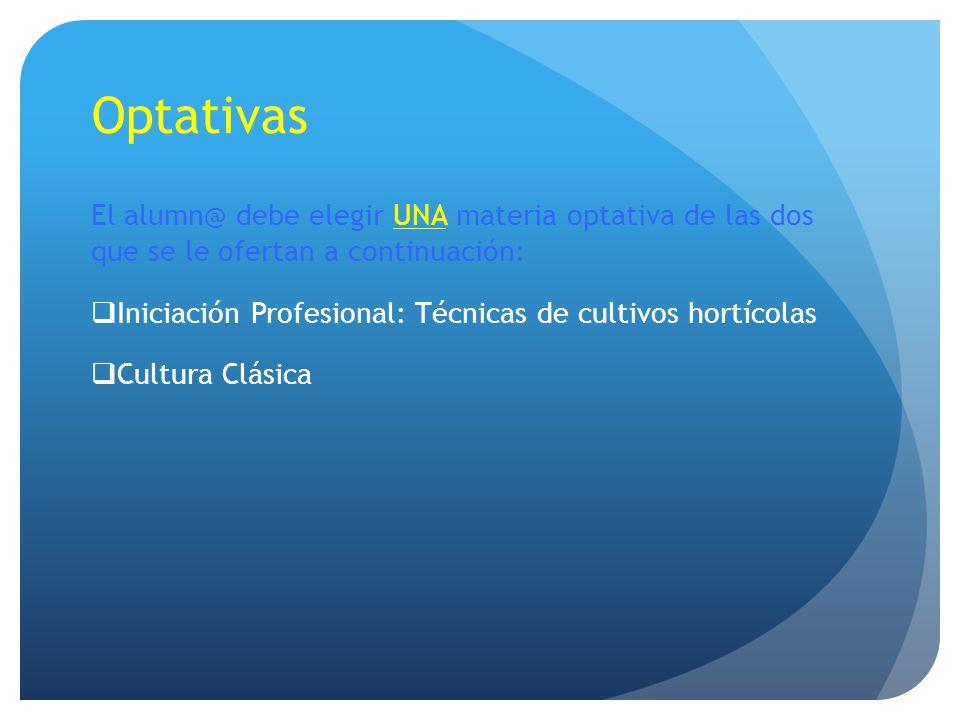 Optativas El alumn@ debe elegir UNA materia optativa de las dos que se le ofertan a continuación: Iniciación Profesional: Técnicas de cultivos hortíco
