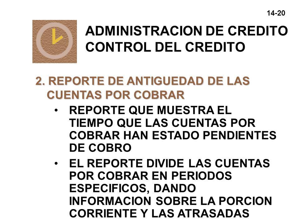 14-21 REPORTE DE ANTIGUEDAD DE LAS CUENTAS POR COBRAR