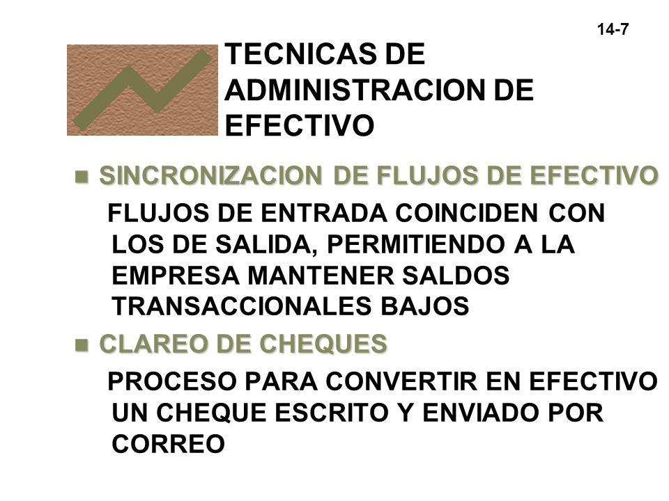 14-8 n FLOTACION DIFERENCIA ENTRE EL BALANCE EN LIBROS Y EL BALANCE EN LOS REGISTROS DEL BANCO TECNICAS DE ADMINISTRACION DE EFECTIVO