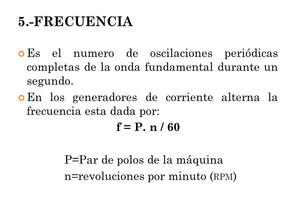 5.-FRECUENCIA Es el numero de oscilaciones periódicas completas de la onda fundamental durante un segundo. En los generadores de corriente alterna la