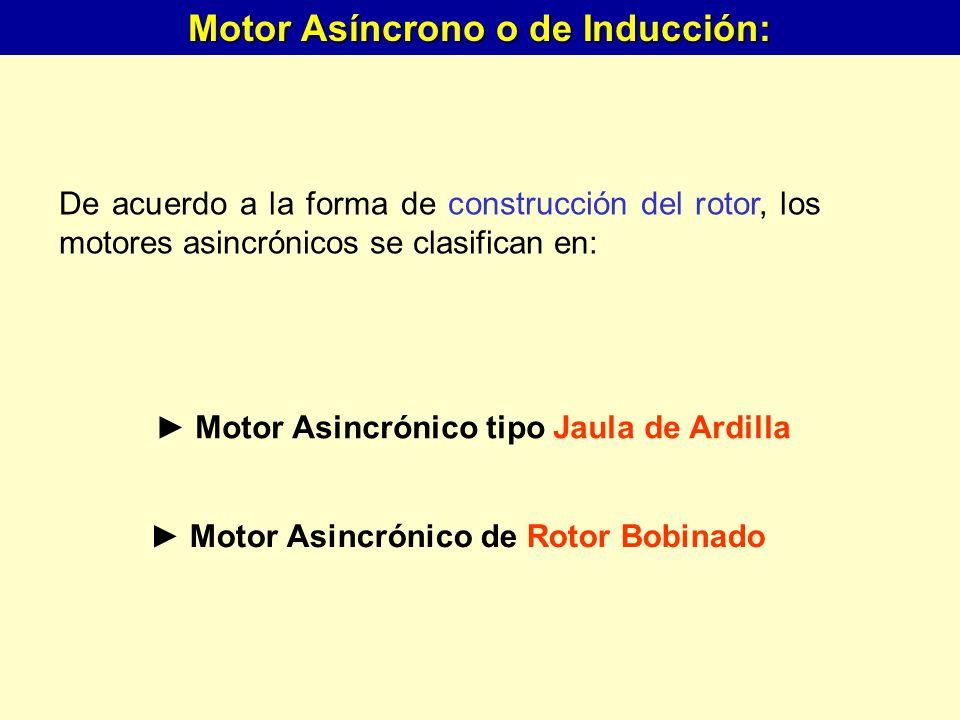 De acuerdo a la forma de construcción del rotor, los motores asincrónicos se clasifican en: Motor Asincrónico tipo Jaula de Ardilla Motor Asincrónico