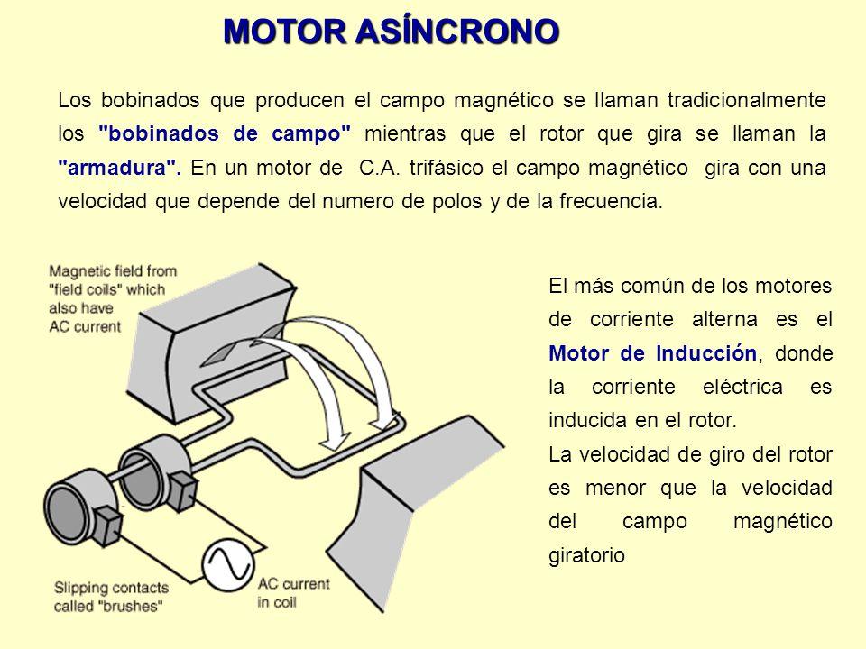 El más común de los motores de corriente alterna es el Motor de Inducción, donde la corriente eléctrica es inducida en el rotor. La velocidad de giro