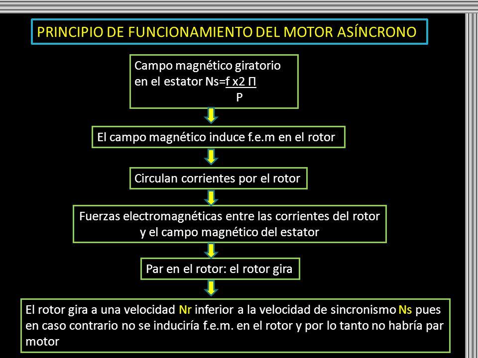 PRINCIPIO DE FUNCIONAMIENTO DEL MOTOR ASÍNCRONO Campo magnético giratorio en el estator Ns=f x2 Π P El campo magnético induce f.e.m en el rotor Circul