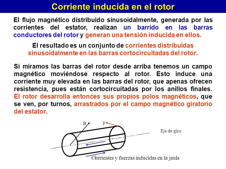 Corriente inducida en el rotor El flujo magnético distribuido sinusoidalmente, generada por las corrientes del estator, realizan un barrido en las bar