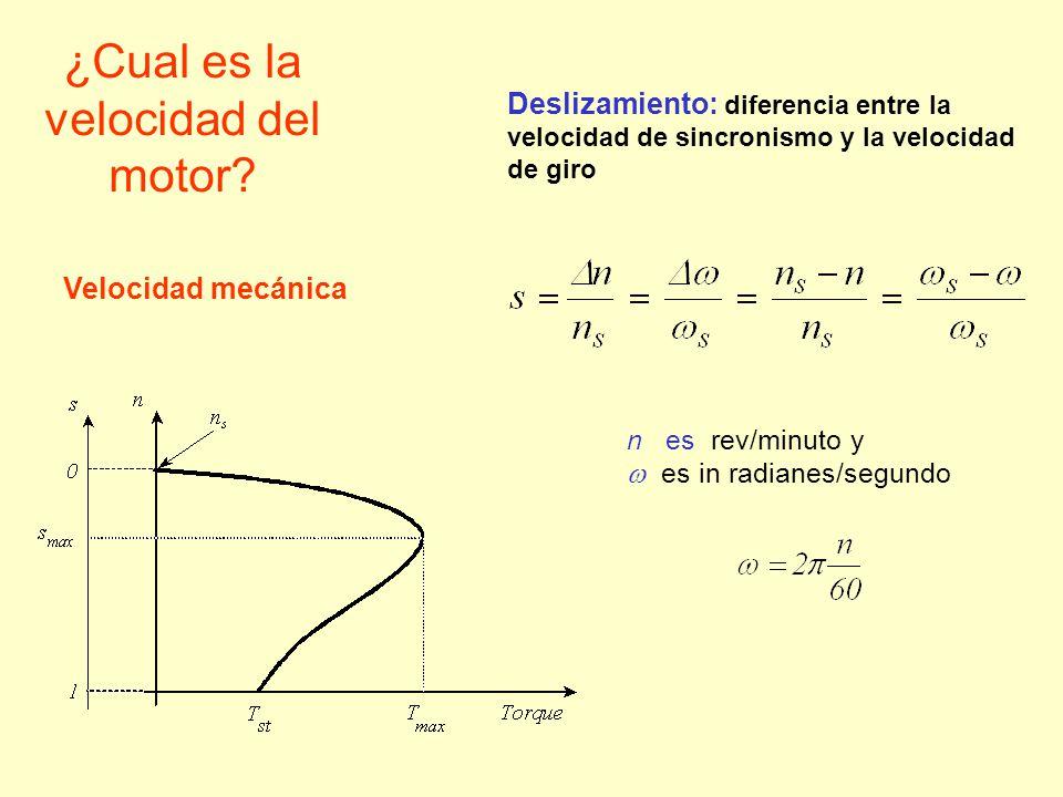 ¿Cual es la velocidad del motor? Deslizamiento: diferencia entre la velocidad de sincronismo y la velocidad de giro n es rev/minuto y es in radianes/s
