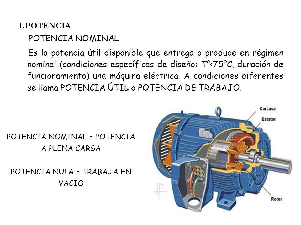 1.POTENCIA POTENCIA NOMINAL Es la potencia útil disponible que entrega o produce en régimen nominal (condiciones específicas de diseño: T°<75°C, durac