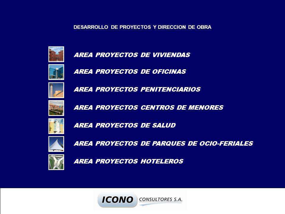 DESARROLLO DE PROYECTOS Y DIRECCION DE OBRA AREA PROYECTOS DE VIVIENDAS AREA PROYECTOS DE OFICINAS AREA PROYECTOS PENITENCIARIOS AREA PROYECTOS CENTROS DE MENORES AREA PROYECTOS DE SALUD AREA PROYECTOS DE PARQUES DE OCIO-FERIALES AREA PROYECTOS HOTELEROS