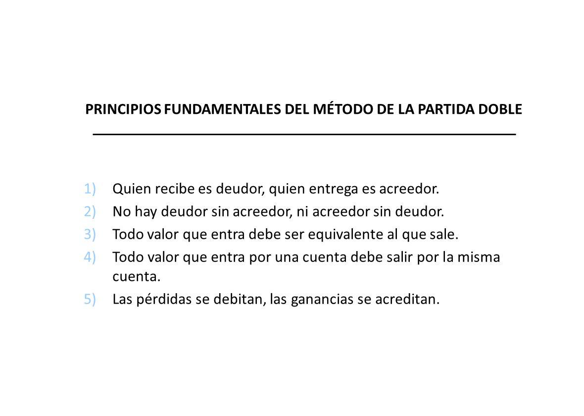 PRINCIPIOS FUNDAMENTALES DEL MÉTODO DE LA PARTIDA DOBLE 1)Quien recibe es deudor, quien entrega es acreedor.