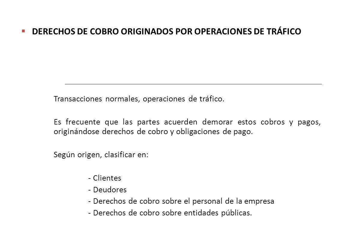 DERECHOS DE COBRO ORIGINADOS POR OPERACIONES DE TRÁFICO Transacciones normales, operaciones de tráfico.
