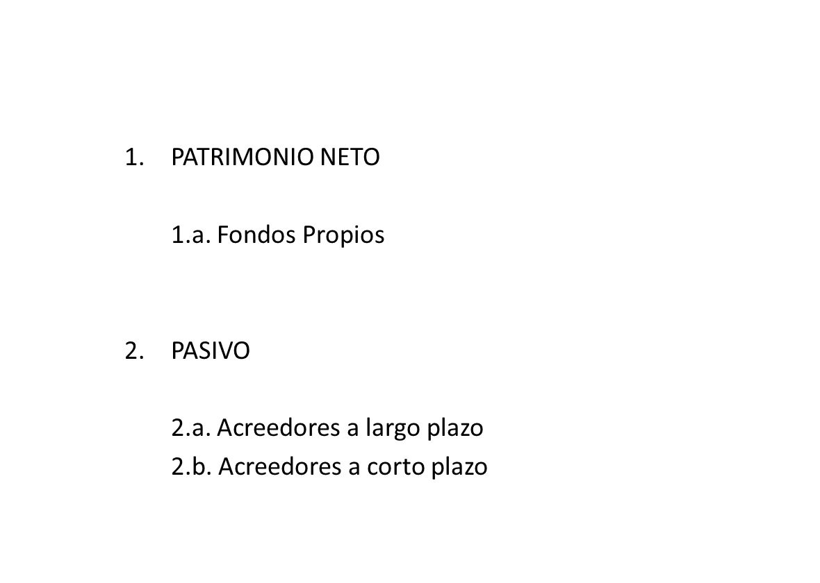 1.PATRIMONIO NETO 1.a.Fondos Propios 2.PASIVO 2.a.
