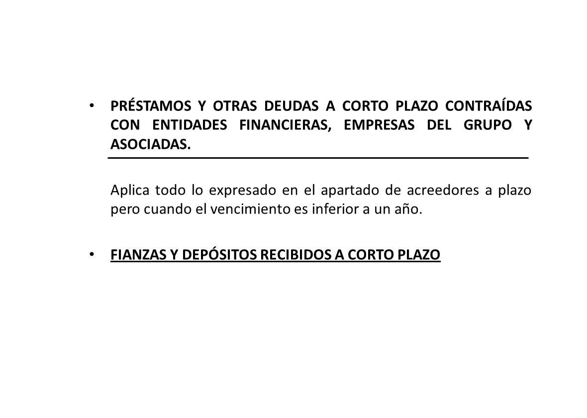 PRÉSTAMOS Y OTRAS DEUDAS A CORTO PLAZO CONTRAÍDAS CON ENTIDADES FINANCIERAS, EMPRESAS DEL GRUPO Y ASOCIADAS.