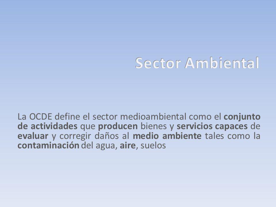 La OCDE define el sector medioambiental como el conjunto de actividades que producen bienes y servicios capaces de evaluar y corregir daños al medio a