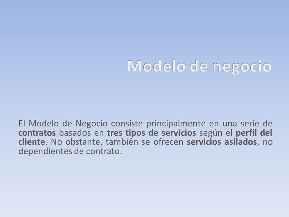 El Modelo de Negocio consiste principalmente en una serie de contratos basados en tres tipos de servicios según el perfil del cliente. No obstante, ta