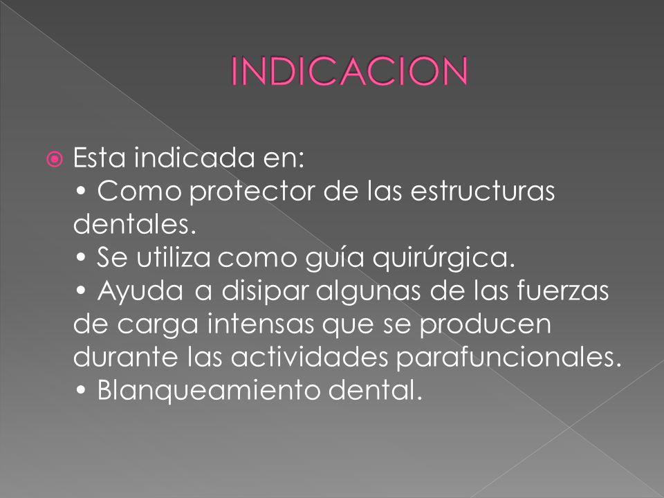 Esta indicada en: Como protector de las estructuras dentales.