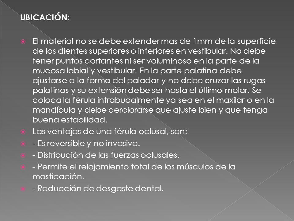 UBICACIÓN: El material no se debe extender mas de 1mm de la superficie de los dientes superiores o inferiores en vestibular.