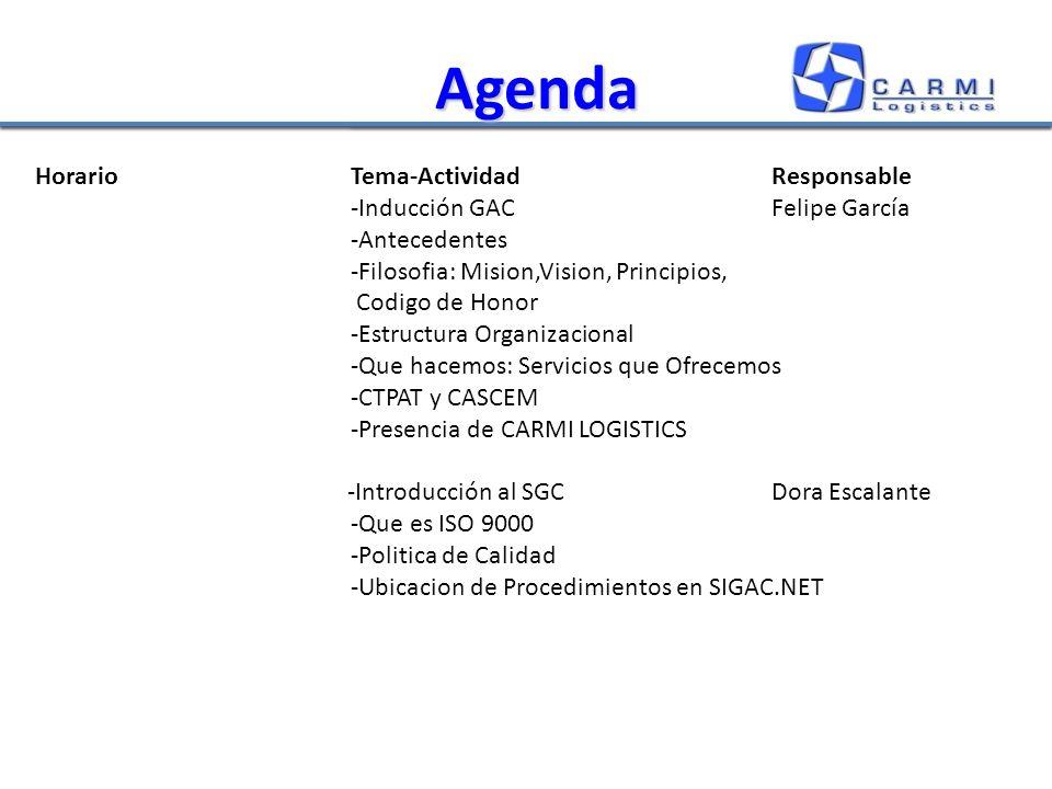 Agenda HorarioTema-ActividadResponsable -Inducción GACFelipe García -Antecedentes -Filosofia: Mision,Vision, Principios, Codigo de Honor -Estructura Organizacional -Que hacemos: Servicios que Ofrecemos -CTPAT y CASCEM -Presencia de CARMI LOGISTICS -Introducción al SGCDora Escalante -Que es ISO 9000 -Politica de Calidad -Ubicacion de Procedimientos en SIGAC.NET