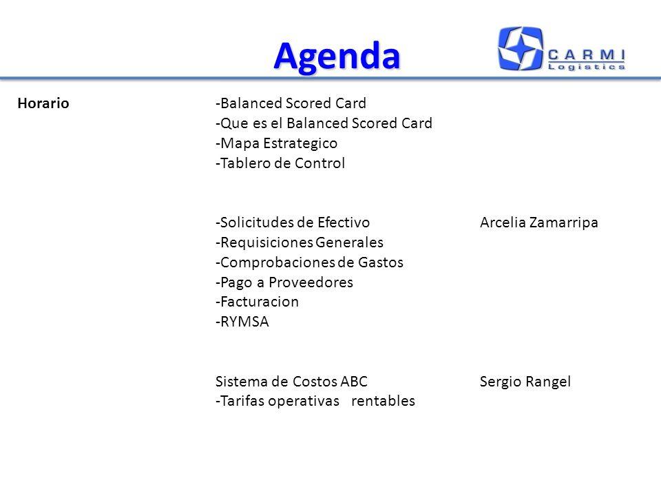 Agenda Horario-Balanced Scored Card -Que es el Balanced Scored Card -Mapa Estrategico -Tablero de Control -Solicitudes de EfectivoArcelia Zamarripa -Requisiciones Generales -Comprobaciones de Gastos -Pago a Proveedores -Facturacion -RYMSA Sistema de Costos ABCSergio Rangel -Tarifas operativas rentables