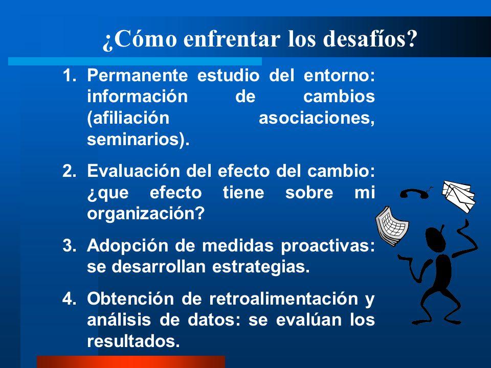 ¿Cómo enfrentar los desafíos? 1.Permanente estudio del entorno: información de cambios (afiliación asociaciones, seminarios). 2.Evaluación del efecto