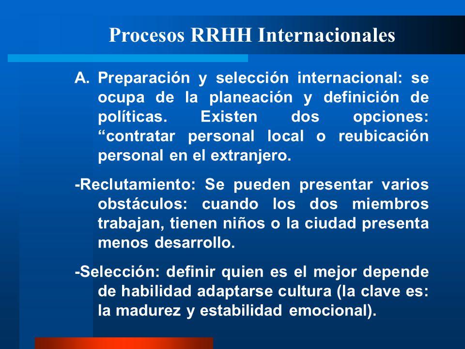 Procesos RRHH Internacionales A.Preparación y selección internacional: se ocupa de la planeación y definición de políticas. Existen dos opciones: cont