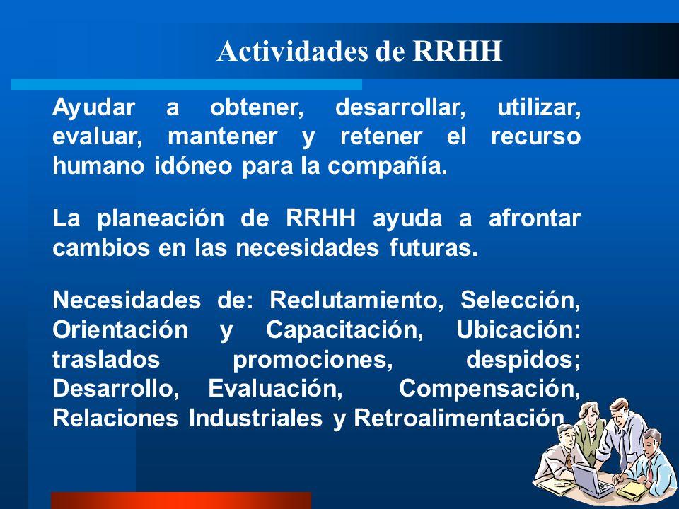 Actividades de RRHH Ayudar a obtener, desarrollar, utilizar, evaluar, mantener y retener el recurso humano idóneo para la compañía. La planeación de R