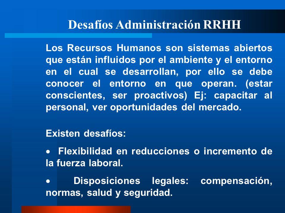 Desafíos Administración RRHH Los Recursos Humanos son sistemas abiertos que están influidos por el ambiente y el entorno en el cual se desarrollan, po