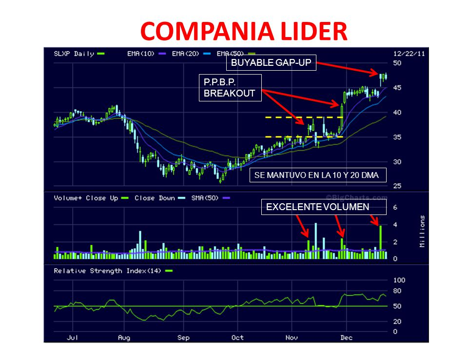 COMPANIA LIDER P.P.B.P. BREAKOUT BUYABLE GAP-UP SE MANTUVO EN LA 10 Y 20 DMA EXCELENTE VOLUMEN