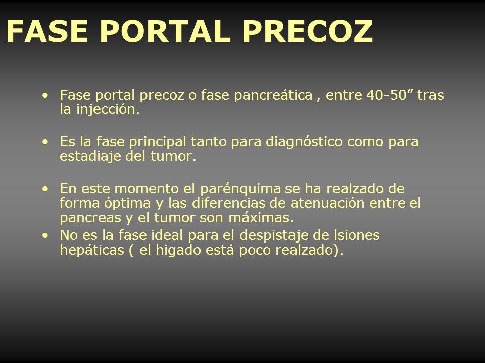 FASE PORTAL PRECOZ Fase portal precoz o fase pancreática, entre 40-50 tras la injección. Es la fase principal tanto para diagnóstico como para estadia