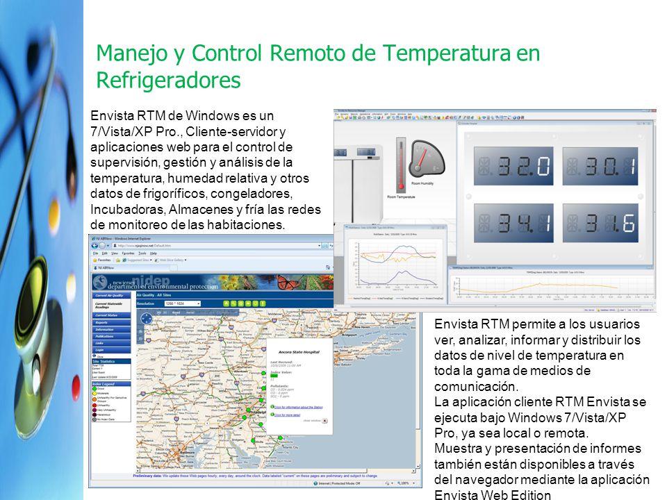 1 Manejo y Control Remoto de Temperatura en Refrigeradores Envista RTM de Windows es un 7/Vista/XP Pro., Cliente-servidor y aplicaciones web para el c