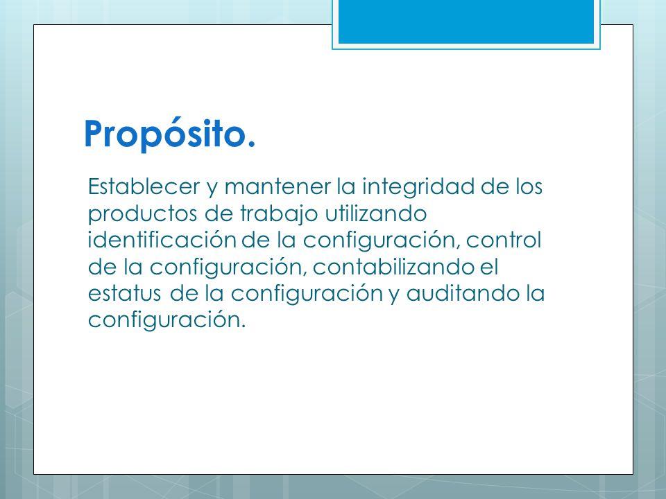 Propósito. Establecer y mantener la integridad de los productos de trabajo utilizando identificación de la configuración, control de la configuración,